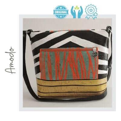 Bolso corcho pintado a mano zebra