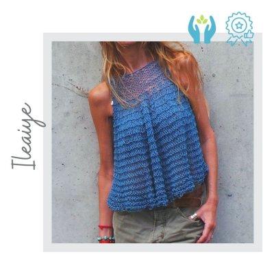 Camiseta Algodón y Lino Azul