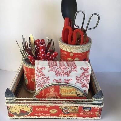Conjunto organizadores cocina rojo