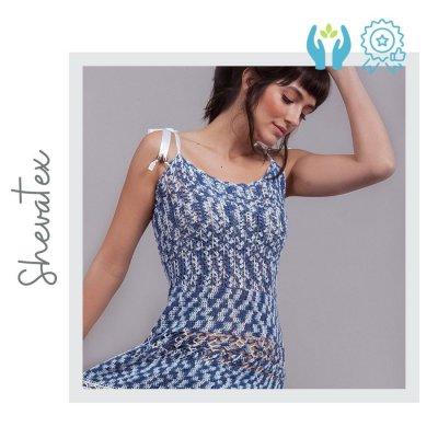 Vestido suave Azul hecho a mano