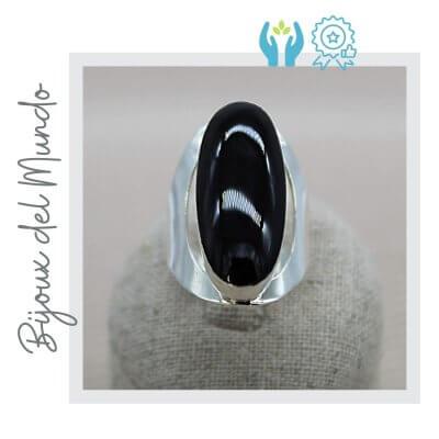 anillo onix y plata