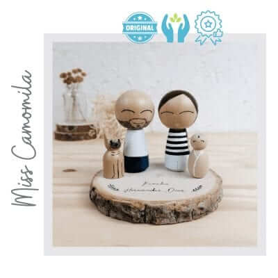 muñecos de madera hechos a mano familia